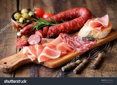 Cured Meat Platter Of Traditional Spanish Tapas - Chorizo, Salsichon, Jamon Serrano, Lomo - Erved On Wooden Board With Olives And Bread Stock Photo 367036823 : Shutterstock