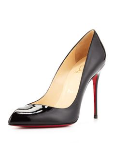 Corneille Asymmetric Red Sole Pump, Black by Christian Louboutin at Neiman Marcus.