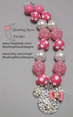 Pink White Minnie Rhinestone Pendant Bubblegum Necklace               (Matching Bracelet & Headband available)