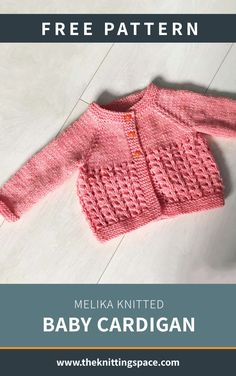 Melika Knitted Baby Cardigan [FREE Knitting Pattern] - Create this lovely knitted cardigan for your little one. This piece also makes for a thoughtful handmade baby shower gift. Baby Knitting Free, Baby Cardigan Knitting Pattern Free, Knitted Baby Cardigan, Knitted Baby Clothes, Cardigan Pattern, Baby Knitting Patterns Free Cardigan, Cardigan Bebe, Baby Clothes Patterns, Baby Sweaters