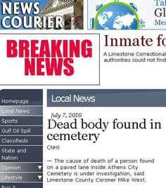 """""""Dead body found in cemetery""""  Really?!?Word choice, people!!"""