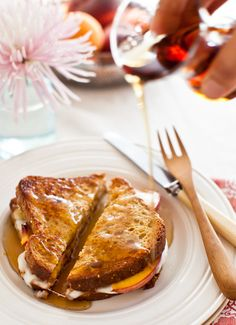 FRENCH TOAST SANDWICHES with Peaches and Mozzarella