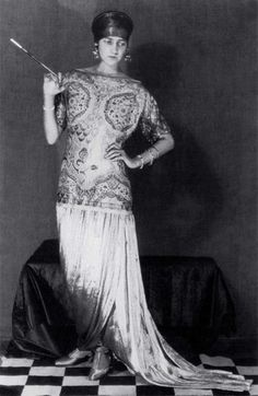 Peggy Guggenheim in a Poiret Gown, circa 1924. Photo by Man Ray