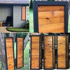 Stained cedar shutters exterior shutters Board and Batten Modern Shutters, Cedar Shutters, Rustic Shutters, Wood Shutters, Farmhouse Shutters, Repurposed Shutters, Exterior Shutters, Stucco Exterior, Home Exterior Makeover