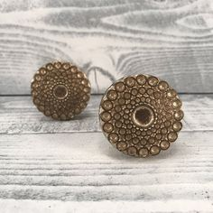 Knobs, Antique Gold, Shabby Chic  French Country Drawer Pulls, Floral Round Farmhouse Knob, Cabinet Supply, Item #516967342 by MiCraftSupplies on Etsy