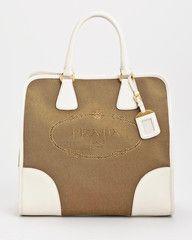 224b8d092699 Brand New Prada Logo Jacquard Tote Bag Designer Luxury Handbag White  Leather Accents. Prada handbag at www.theluxgroupe.com