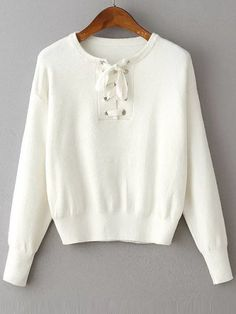 Pull col rond avec lacet manche longue - blanc -French SheIn(Sheinside)Site…