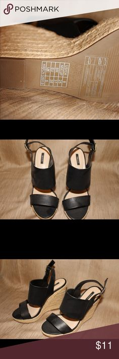 LEATHER ESPADRILLES Women's Black FAUX Leather Wedge! Size 8 **NEVER WORN** 3inch Wedge with buckle strap! Forever 21 Shoes Wedges