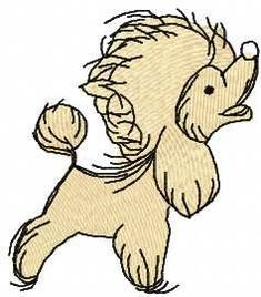 Poodle free embroidery design. Machine embroidery design. www.embroideres.com
