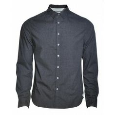 A one coloured shirt with white buttons