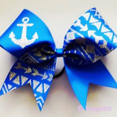 royal blue ribbon cheer bow with silver glitter tribal print and anchor