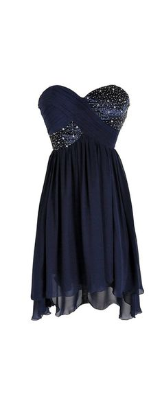 $90 Shooting Stars Navy Embellished Chiffon Designer Dress from Lily Boutique - Isn't this BEAUTIFUL?