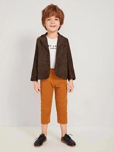 Brown Boys Coat with Patterned Pockets