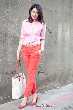 Coral pants with pink!