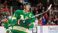 Minnesota Wild Captain Mikko Koivu warms up wearing a 1967 era Minnesota North Stars expansion jersey before a game against the Carolina Hurricanes at Xcel Energy Center. Minnesota North Stars, Minnesota Wild, Wild Hockey, Wild North, Carolina Hurricanes, Vikings, Twins, How To Wear, Game