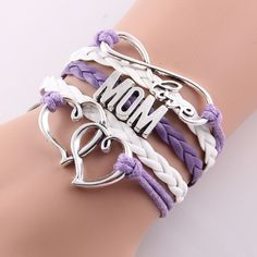 Best gift Infinity love mom & grandma heart feet love wins Rope charm Bracelets for women Wrap Leather bracelets bangles