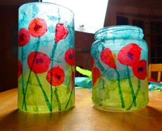 How to make a stained glass poppy votive Here's a fun little project that would make a lovely teacher or hostess gift for the holidays. Remembrance Day Activities, Remembrance Day Poppy, Poppy Craft For Kids, Art For Kids, Crafts For Teens, Diy And Crafts, Classe D'art, Anzac Day, Stained Glass Art