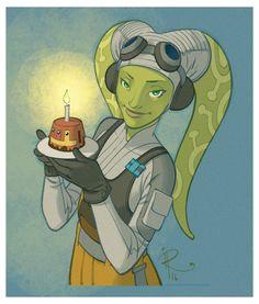 Hera with a Chopper Cupcake - Ingo Roemling Vanessa Marshall, Kanan And Hera, Star Wars Rebels, Sw Rebels, Star Wars Fan Art, Star War 3, Star Wars Birthday, Love Stars, Star Wars Characters