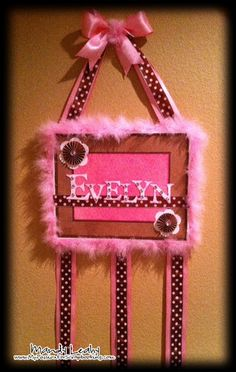 Baby Girl Canvas for Hair Bows using the CTMH Art Philosophy Cricut Cartrige {created by Mandy Leahy}