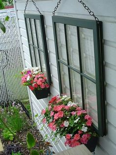 Container Gardening Some old windows, chain and window boxes.Some old windows, chain and window boxes. Outdoor Projects, Garden Projects, Diy Projects, Backyard Projects, Backyard Designs, Recycled Windows, Reclaimed Windows, Recycled Door, Recycled Garden Art