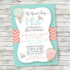 Hot Air Balloon Birthday Invitation - Shabby Chic - PRINTABLE Invitation - Digital Files - Hot Air Balloon Party Supplies by PicklesAndPosies on Etsy