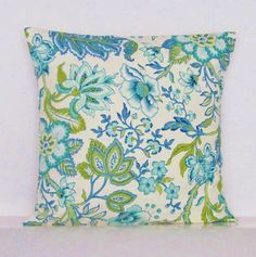 Sale Blue Green Floral Pillow Cover Botanical by GigglesOfDelight