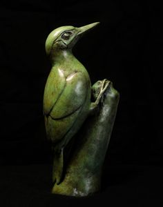 Bronze Wild Animals and Wild Life sculpture by sculptor Anthony Smith titled: 'Green Woodpecker (Yaffle + Stump Bronze statuette)' - Artwork View 2 Bird Sculpture, Animal Sculptures, Bronze Sculpture, Green Woodpecker, Anthony Smith, Countryside Landscape, Farm Yard, Green Man, Beautiful Birds