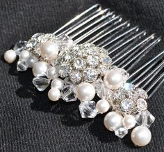 Pearl and Rhinestone Hair Comb. Prom Pageant Wedding Hair Comb. Pearls Rhinestones Crystals. Wire Hair Comb. $65.00, via Etsy.