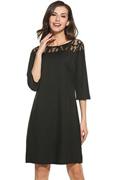 7815290ddfa9 Meaneor Womens Hollow Lace Patchwork 34 Sleeve Shift Dress Knee Length  Black XL     Check this awesome product by going to the link at the image.