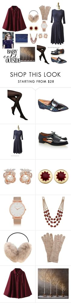 """""""Baby It's Cold Outside"""" by karina-dresses ❤ liked on Polyvore featuring Kate Spade, Rebecca Minkoff, Anabela Chan, House of Harlow 1960, Larsson & Jennings, Lucky Brand, Yves Salomon, White House Black Market and Restoration Hardware"""