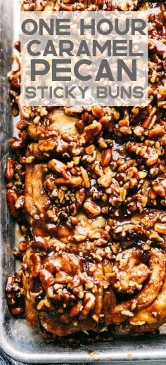 One Hour Caramel Pecan Sticky buns are ooey gooey sticky delicious! They are made with an easy dough from scratch and have the best caramel pecan sticky topping. The best part is they are ready in just an hour! Pecan Cinnamon Rolls, Cinnamon Bun Recipe, Pecan Rolls, Cinnamon Recipes, Pecan Recipes, Bread Recipes, Best Sticky Bun Recipe, Pecan Sticky Buns, Sticky Rolls
