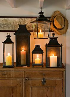 Lanterns and Candles . I love lanterns Candle Lanterns, Candle Sconces, Rustic Lanterns, Indoor Lanterns, Fall Lanterns, Country Decor, Rustic Decor, Rustic Style, Bougie Partylite