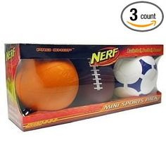 Fun! Nerf Balls Mini Sports Pack Basketball Football Soccer:  Now this is a gift for Boys AND Girls - of many ages from one to 15 years old.