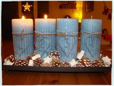 the advents candlelights. every sunday a flame will be lighted Christmas Home, Pillar Candles, Advent, Sunday, Domingo, Candles