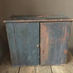 AAFA Early Primitive Antique Hanging Wall Cupboard with Original Blue Paint #NaivePrimitive