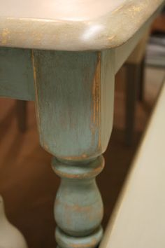 Reloved Rubbish: Dining Table in Coco and Duck Egg blue chalk paint with dark wax.