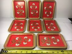A personal favorite from my Etsy shop https://www.etsy.com/listing/513017101/vintage-retro-set-of-8-mini-trays-tin