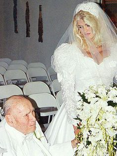 Anna Nicole Smith and J. Howard Marshall get married on June 27th at White Dove Wedding Chapel in Houston. He is 89; she is 26. This also gets publicity in ads in Europe for clothing retailer H&M.