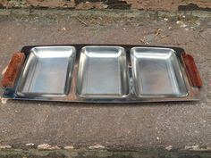 Mid-Century STAINLESS STEEL Divided Serving Tray | Wood Handles | Three Sections | Made In Japan by BROCANTEBedStuy on Etsy