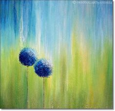 Canvas Art Abstract Acrylic Painting CONTEMPORARY ART ORIGINAL Textured Floral Landscape Art Blue Green Turqoise 24x24x1,5 (60cmx60cmx3,6cm)