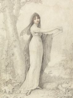 Portrait of a Lady (Mrs. Talbot?) standing near a lake  Date ca. 1802