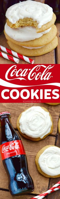 These Coca-Cola Cookies are perfectly soft with the most delicious Coca-Cola Frosting! For frosting use 8 TBSPs butter, room temperature, cup Coca-Cola at room temperature, 4 cups powdered sugar of the ingredients. Köstliche Desserts, Delicious Desserts, Dessert Recipes, Yummy Food, Baking Recipes, Cookie Recipes, Baking Ideas, Cola Recipe, Crinkle Cookies