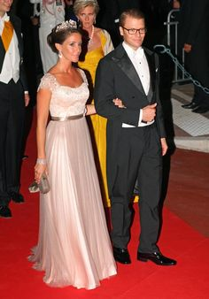 Princess Marie and Prince Daniel at the marriage of Prince Albert II of Monaco and Charlene Wittstock