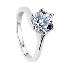 White Sapphire Engagement Rings - PETUNIA Classic Six Prong Solitaire Round  White Sapphire Engagement Ring - f60f416f4351