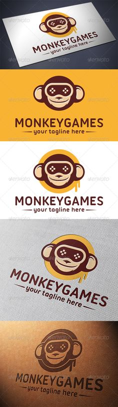 Monkey Game  Logo Design Template Vector #logotype Download it here: http://graphicriver.net/item/monkey-game-logo-template/5664987?s_rank=130?ref=nesto