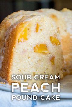 Food Cakes, Cupcake Cakes, Cupcakes, Cake Cookies, Peach Pound Cakes, Sour Cream Pound Cake, Fresh Peach Pound Cake Recipe, Bunt Cakes, Pound Cake Recipes
