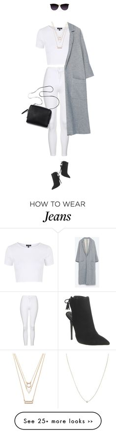 """""""White at fall. Yass just do it !"""" by azzra on Polyvore featuring Topshop, Zara, ASOS, Office, Forever 21 and falldenimtrend"""