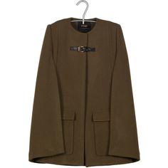 MAJE Manteau esprit cape Kaki (730 AED) ❤ liked on Polyvore featuring  outerwear, 2b8fea8e5e0