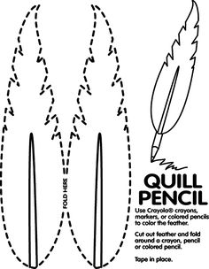 quill pencil coloring page... good for Presidents Day, 4th of July or other historical lesson plan.