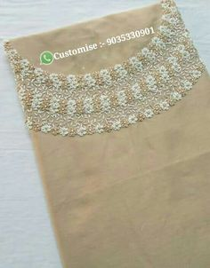 Call or whatsapp 9035330901 to customise Saree Embroidery Design, Embroidery On Kurtis, Hand Embroidery Dress, Embroidery Neck Designs, Hand Embroidery Videos, Bead Embroidery Patterns, Embroidery On Clothes, Cute Embroidery, Hand Embroidery Stitches